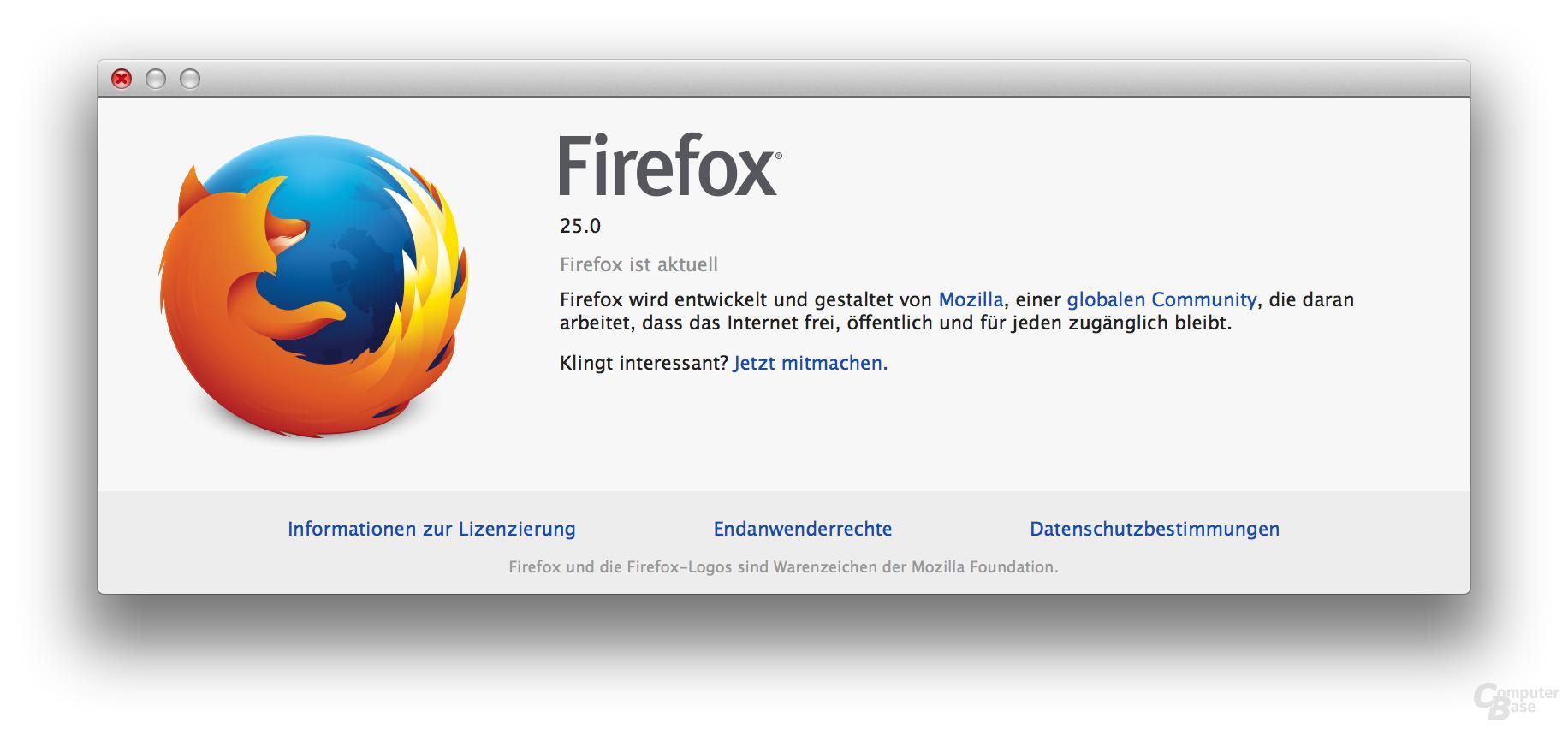 Firefox 25 unter OS X