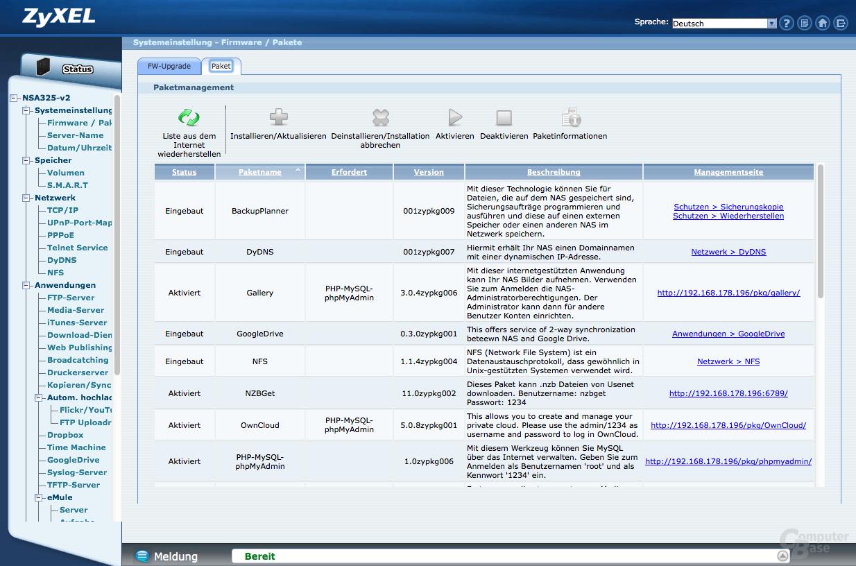 ZyXEL NSA325 v2 Benutzeroberfläche