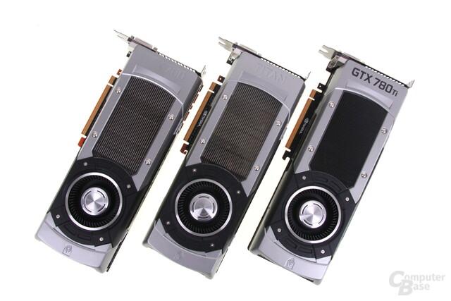 v.l.n.r.: GeForce GTX 780, GTX Titan und GTX 780 Ti