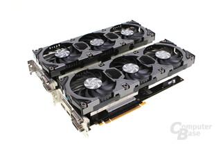 Kaum zu unterscheiden: GeForce GTX 780 und 780 Ti (hinten) von Inno3D