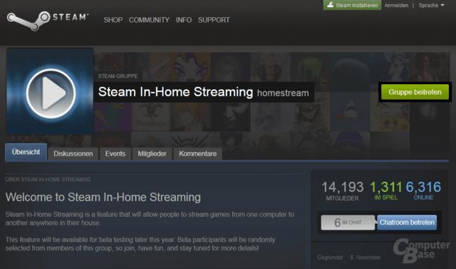 Anmeldung für Beta des Steam In-Home Streaming