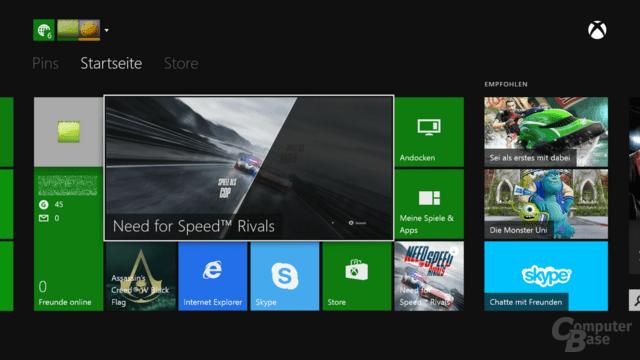 Xbox One Benutzeroberfläche