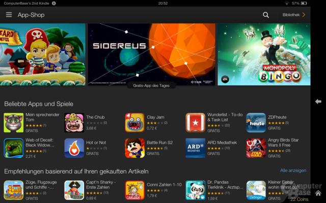 Kindle Fire OS 3.0 App-Shop