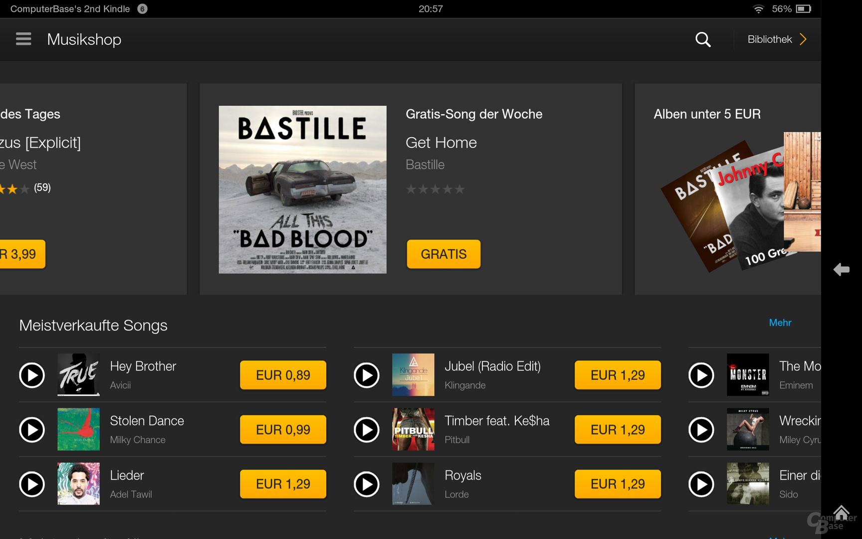 Kindle Fire OS 3.0 Musikshop