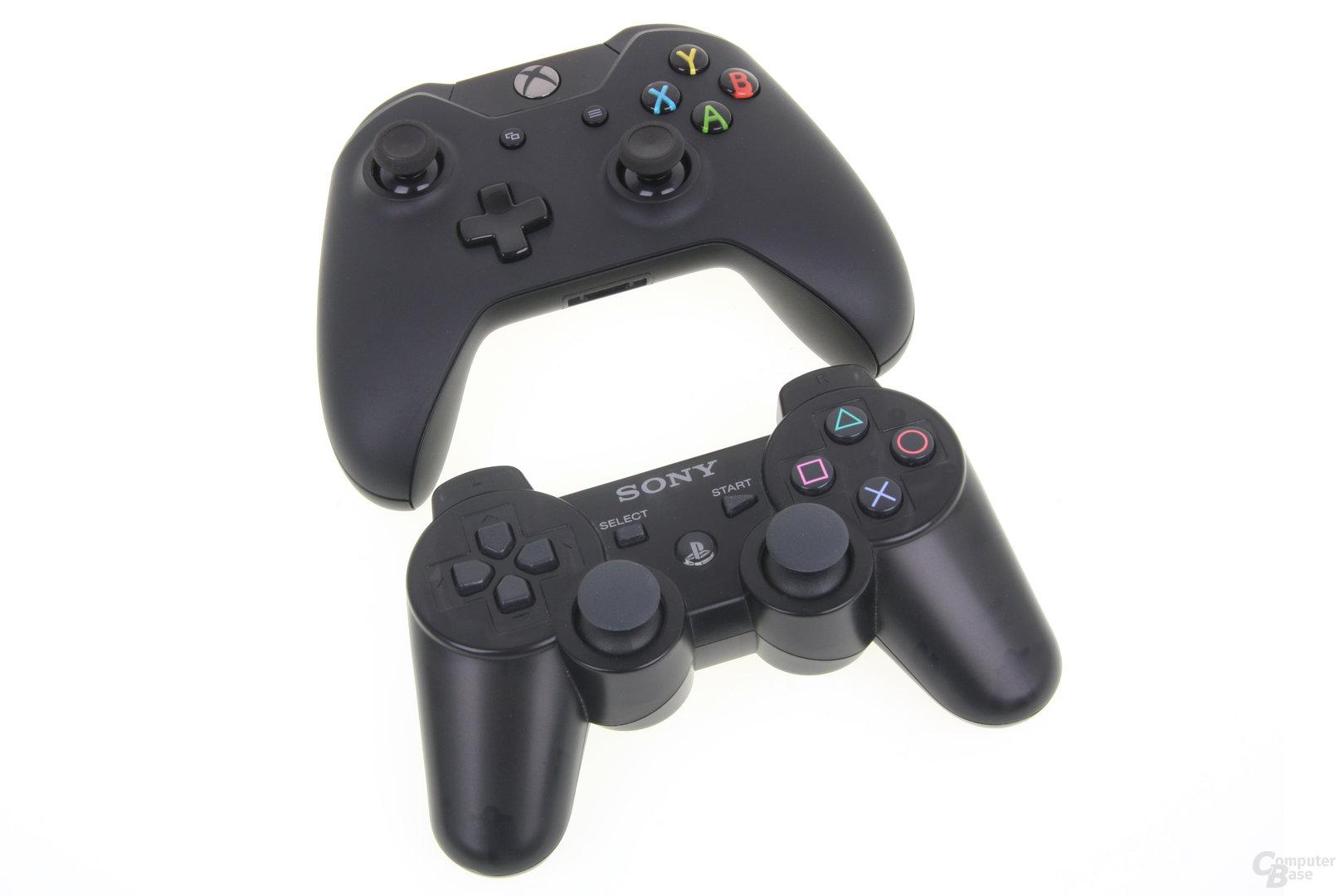Controller Xbox One (oben) und PlayStation 3 (unten)