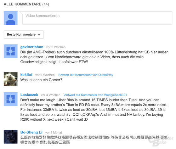 Kommentarfunktion auf YouTube