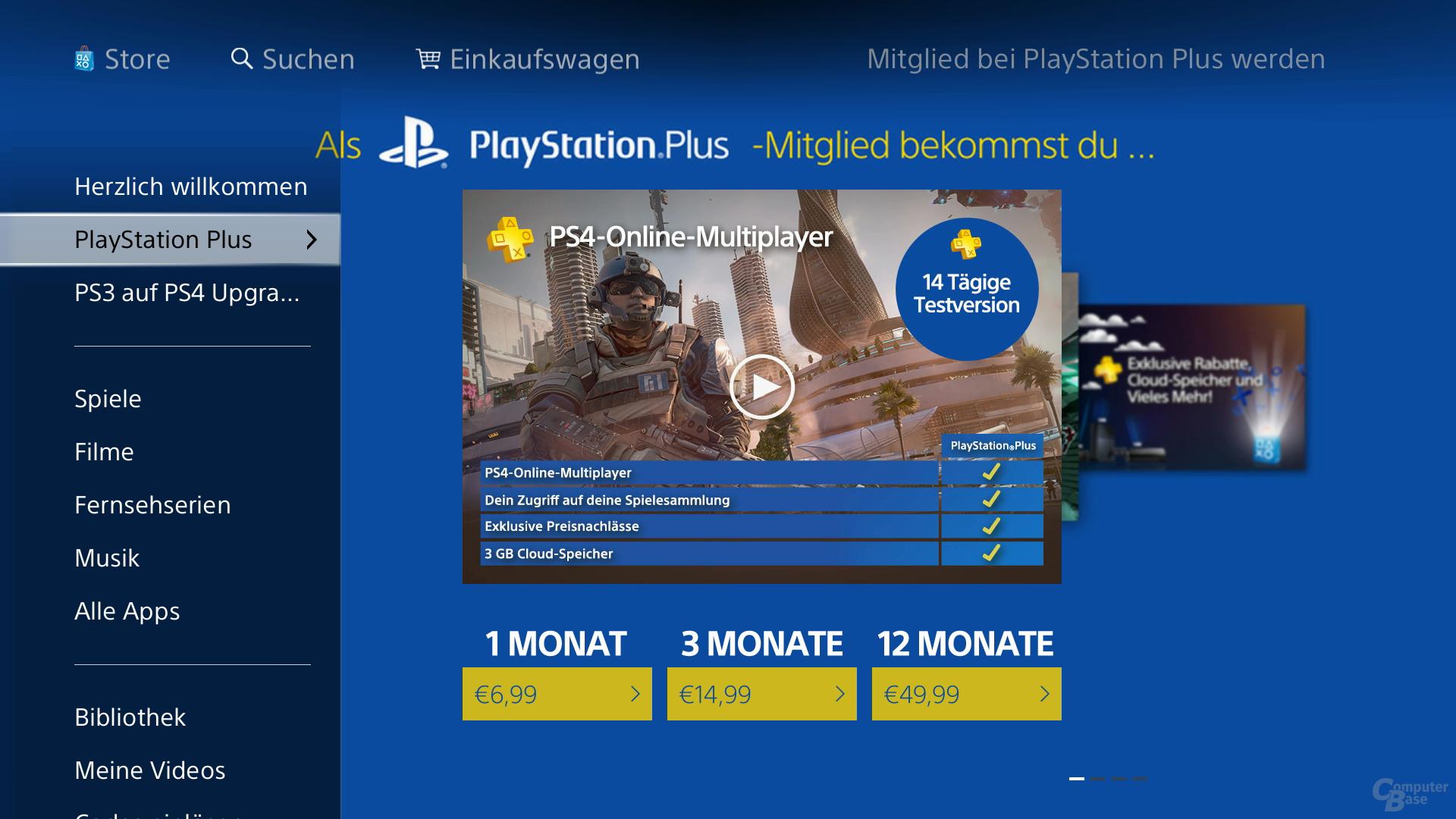 Benutzeroberfläche der PlayStation 4