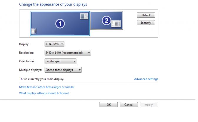 Windows meldet 3.440 x 1.440 Pixel