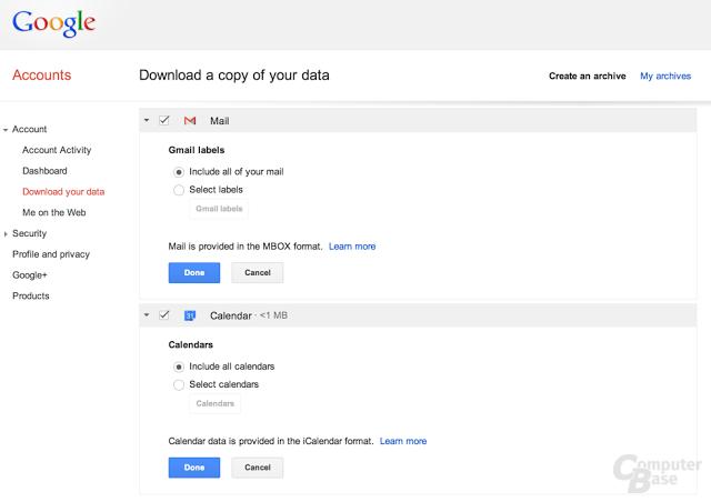 Lokales Backup für Gmail und Google Calendar