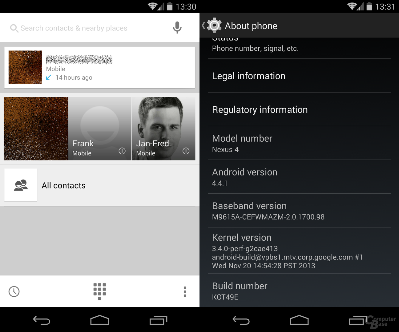 Alle Kontakte mit größerer Schaltfläche / Android 4.4.1, neuer Kernel