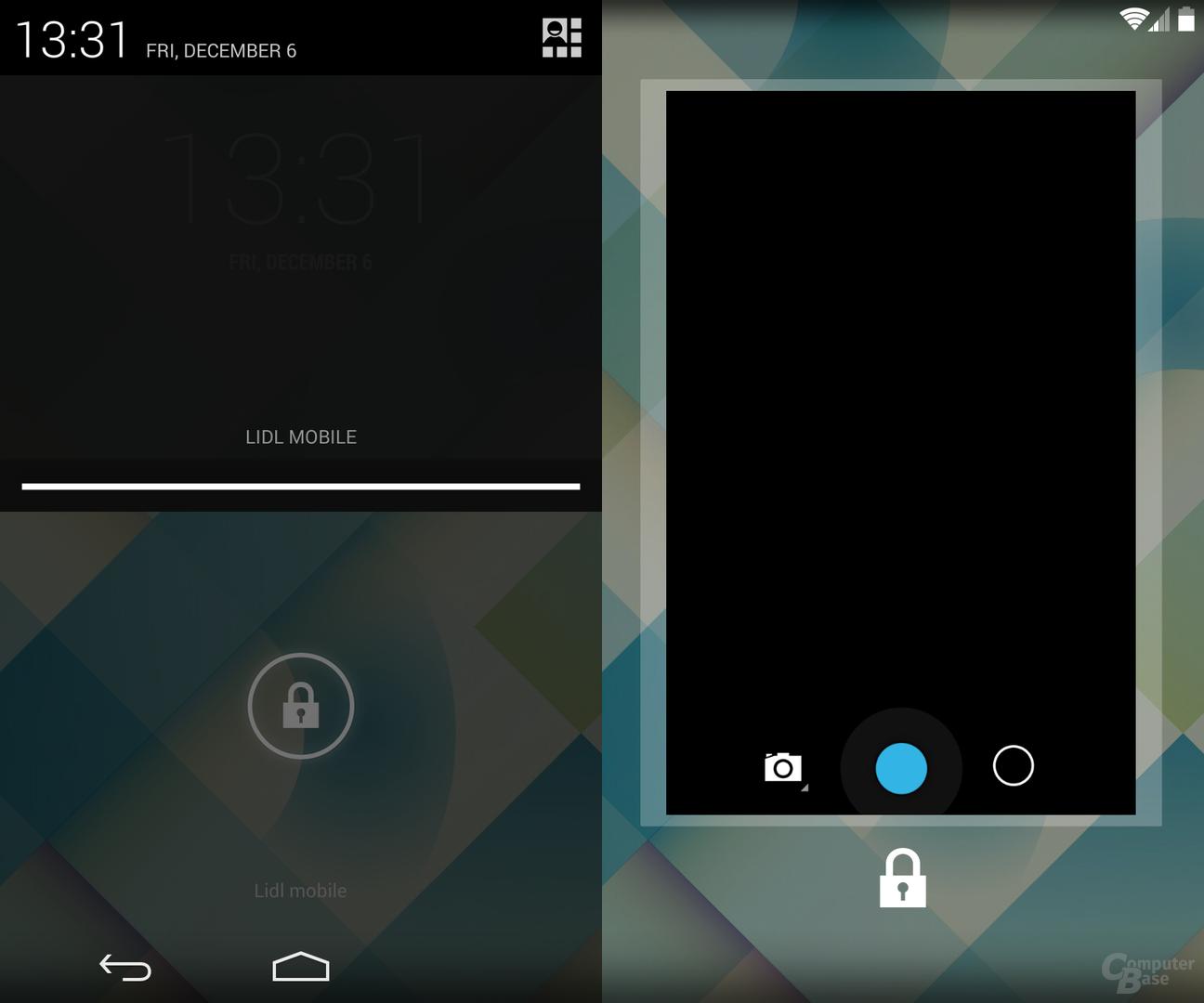 Ruckler Statusleiste Lockscreen entfernt / Kamera-Widget Größe angepasst
