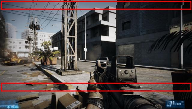 """Tearing in Battlefield 3: """"Risse"""" zwischen den Bildern (rot markiert)"""