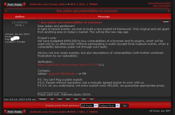 Ankauf von Exploits im Darkode-Forum