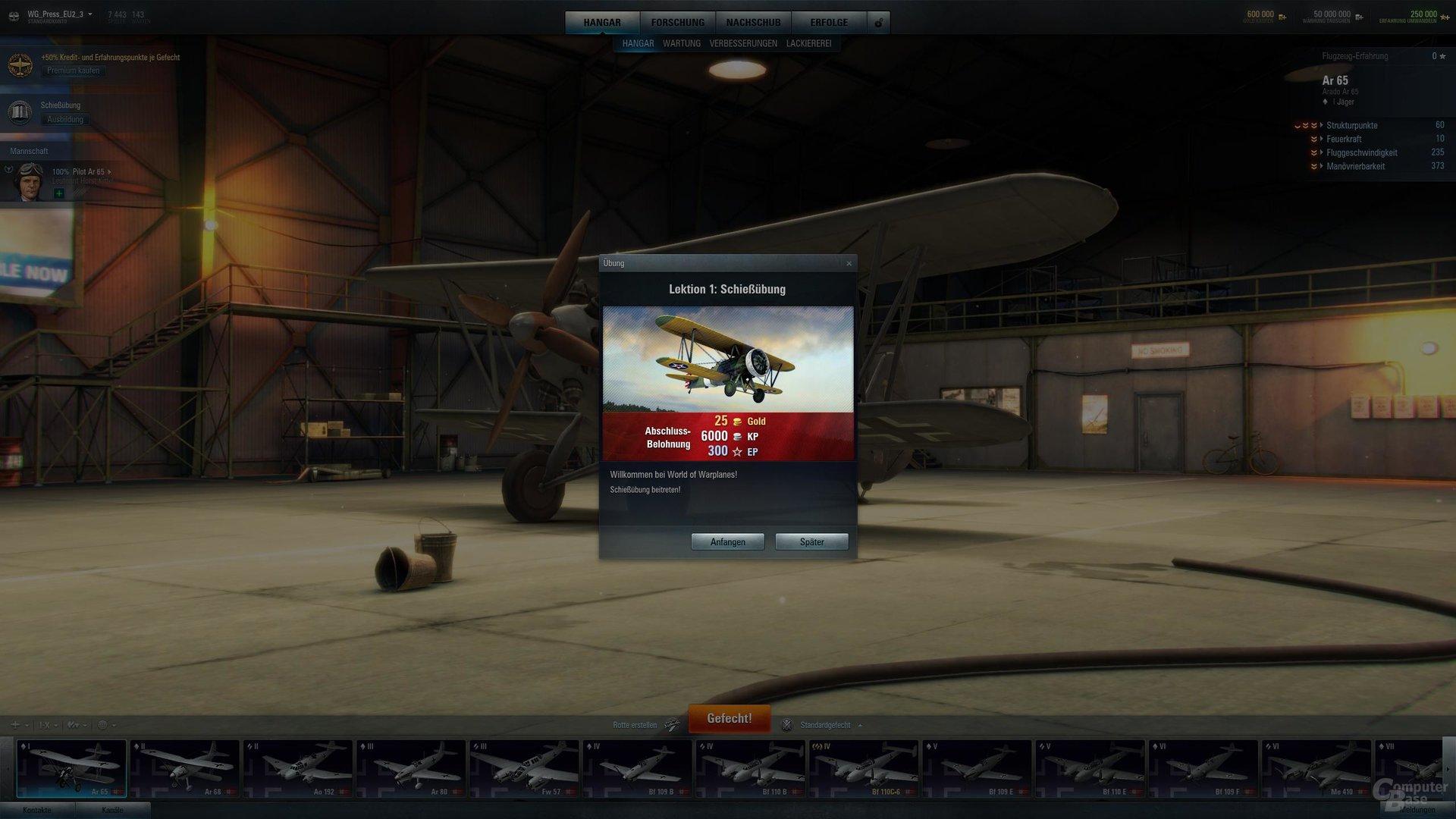 World of Warplanes – Tutorial-Sequenz mit Startboni