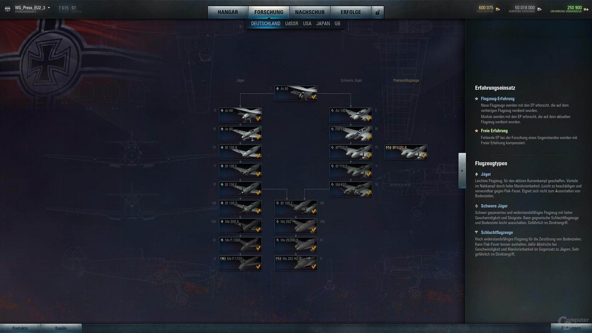 World of Warplanes – Techtree