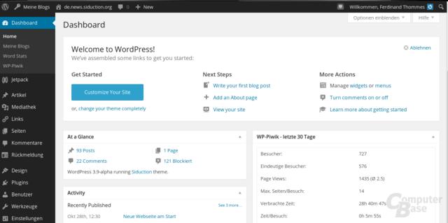 WordPress-3.8 Dashboard