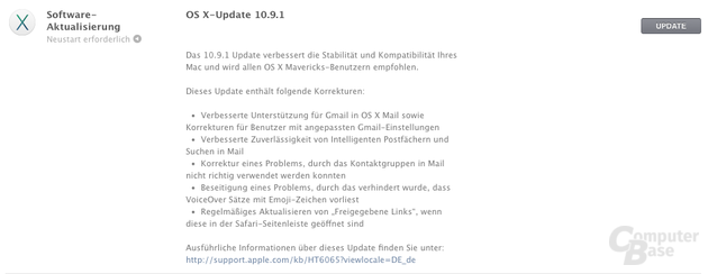 Updatebenachrichtigung OS X v10.9.1