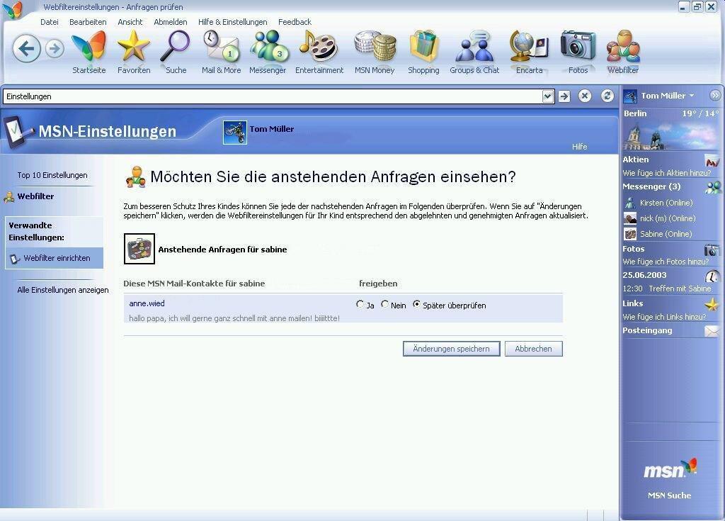 MSN 8 Kindersicherung