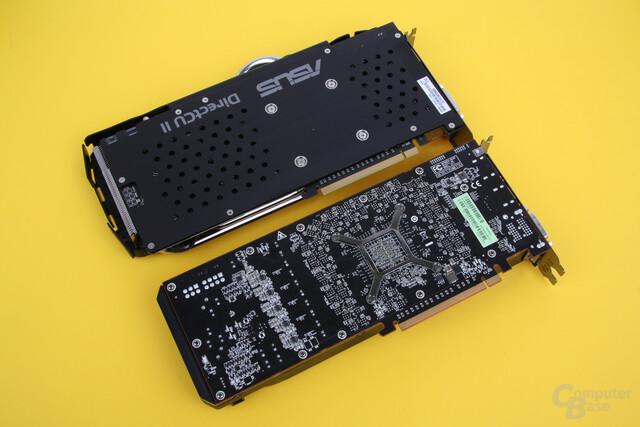Asus Radeon R9 290X DirectCU II OC oben, Referenzdesign unten