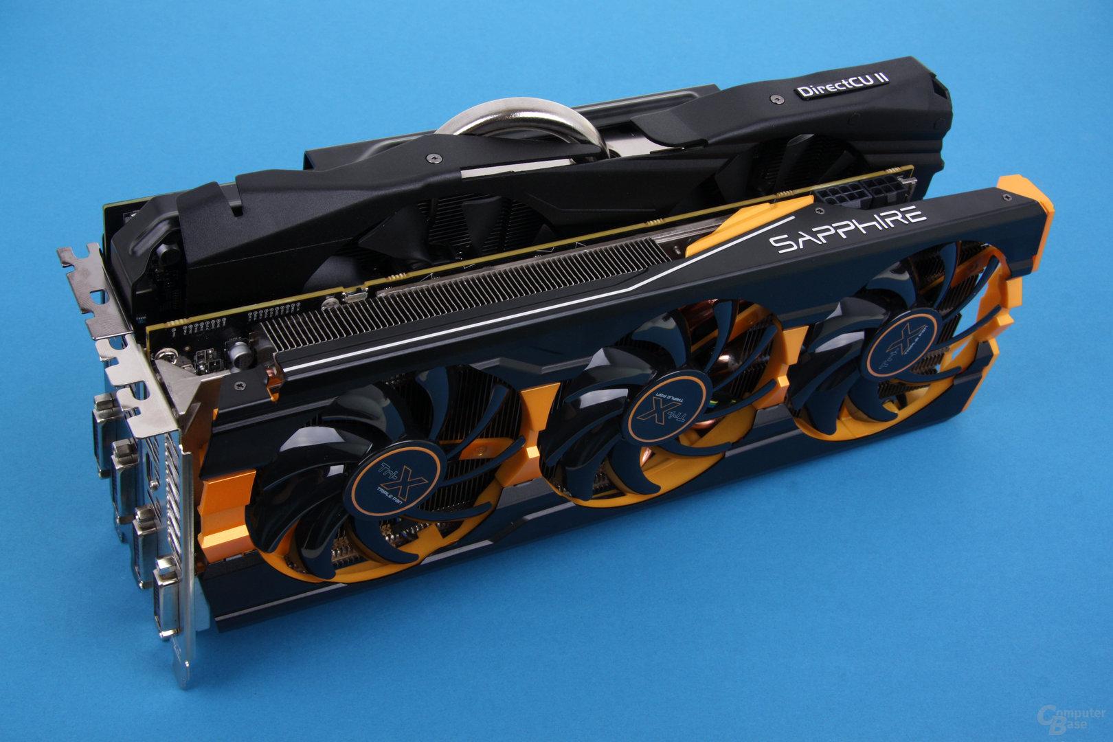 Sapphire Radeon R9 290 Tri-X OC und Asus Radeon R9 290X DirectCU II OC (hinten)