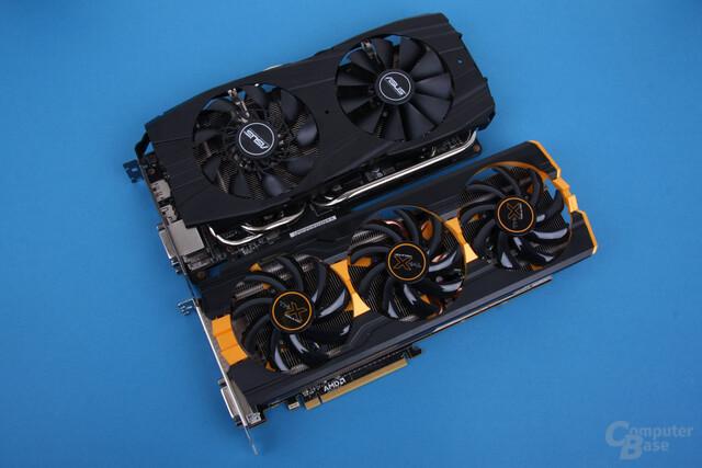 Asus Radeon R9 290X DirectCU II OC (oben) und Sapphire Radeon R9 290 Tri-X OC