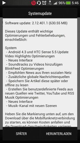 Android 4.3 für das HTC One mini