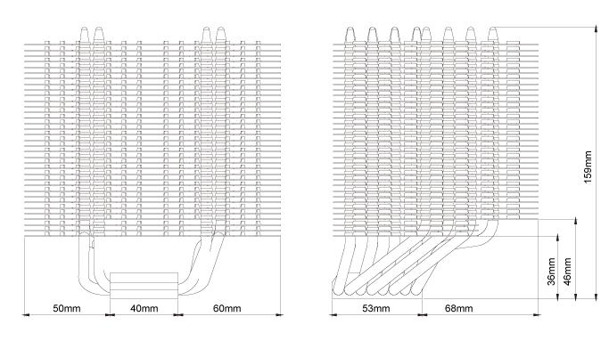 Technische Zeichnung des HR-22 mit detaillierten Abmessungen