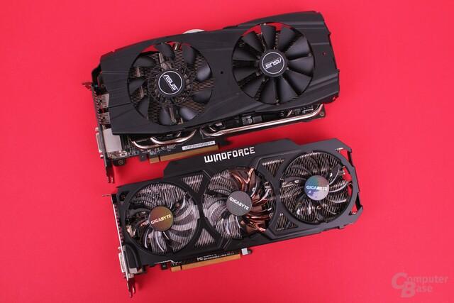 Asus Radeon R9 290X DirectCU II OC (oben) und Gigabyte R9 290X WindForce