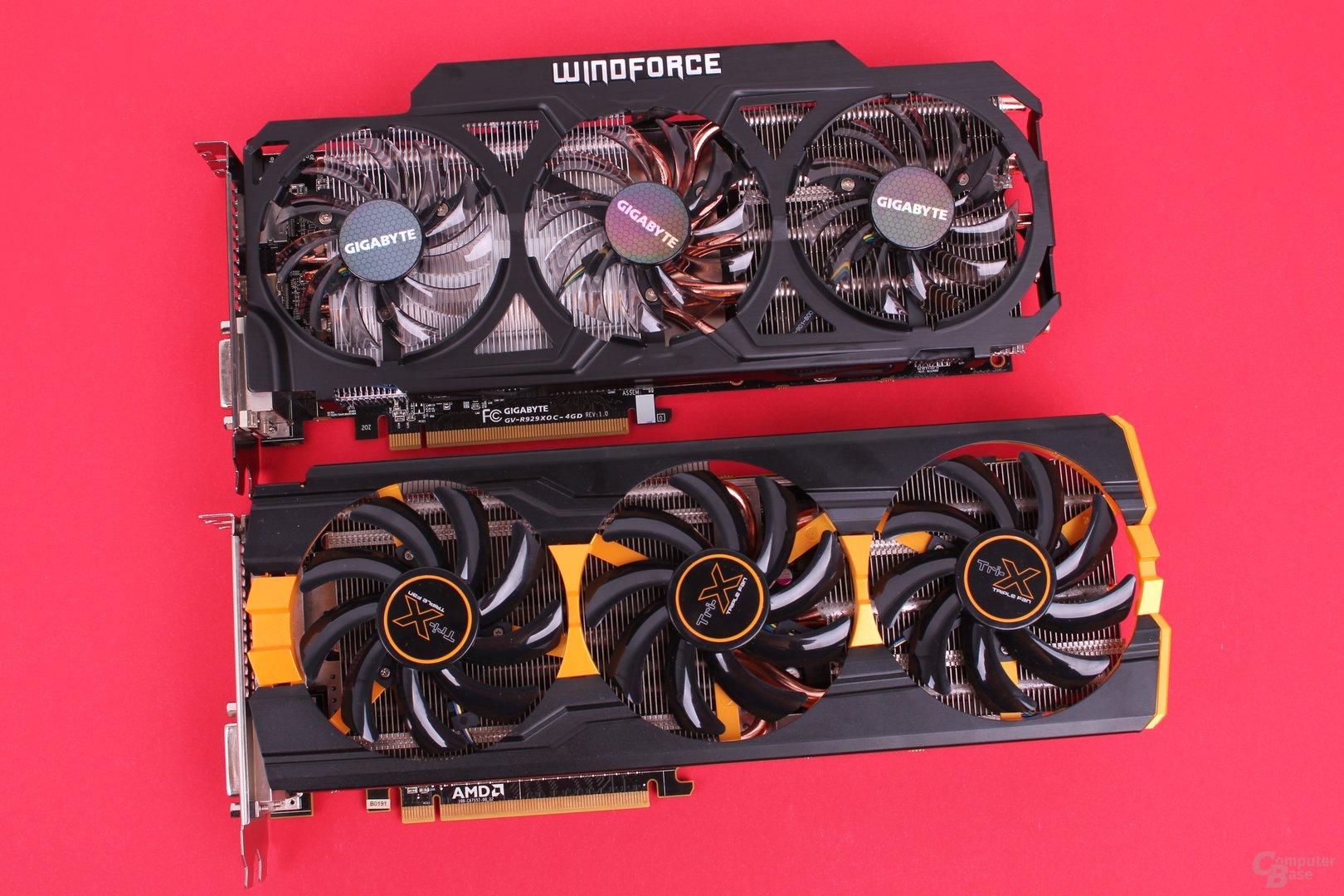 Gigabyte Radeon R9 290X WindForce (oben) und Sapphire Radeon R9 290 Tri-X OC