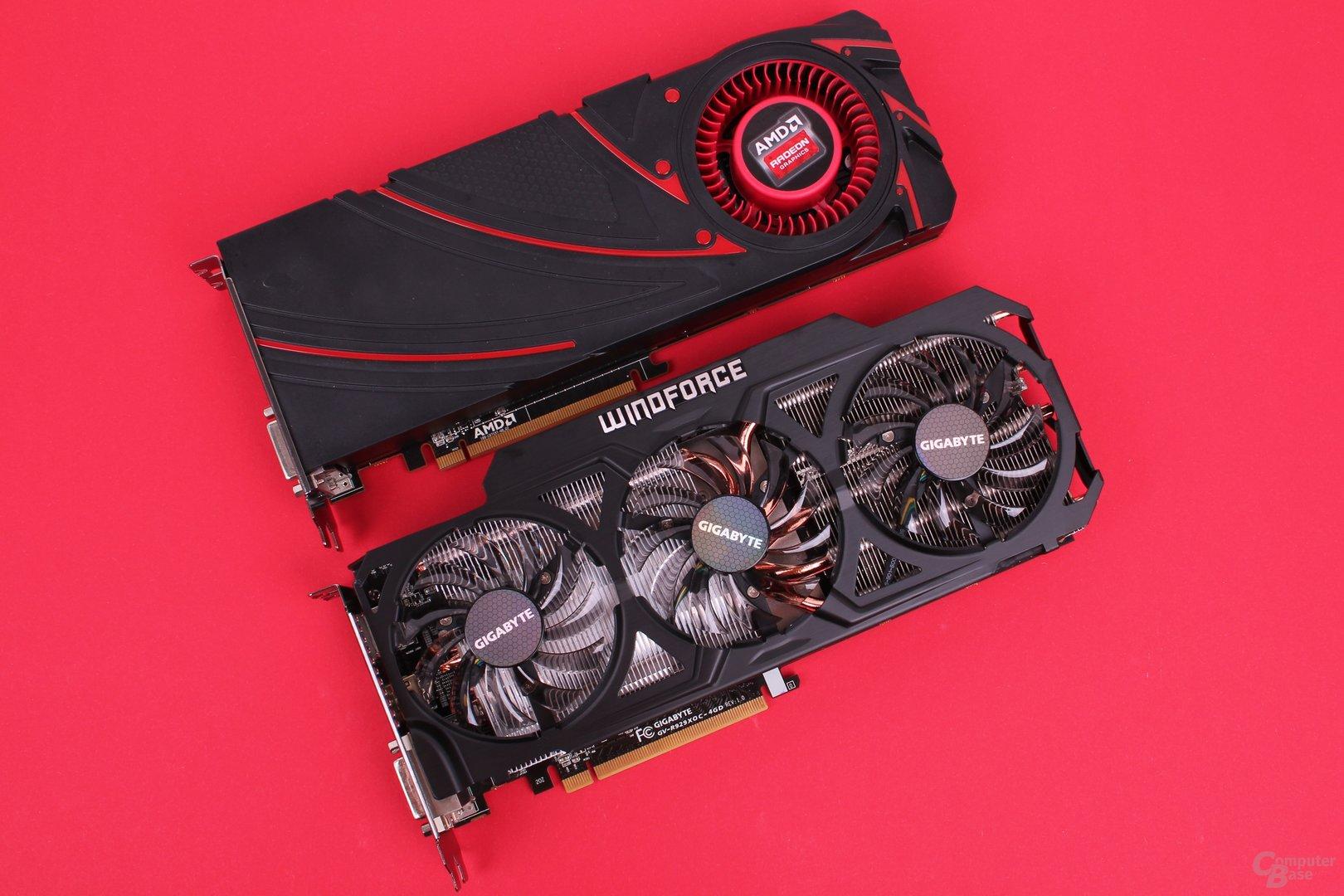 Radeon R9 290X: Referenzdesign (oben) und Gigabyte-Modell