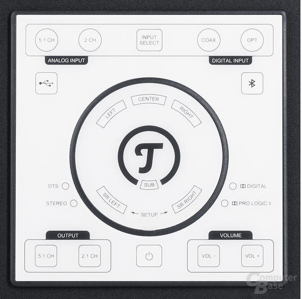 Touchpanel des Subwoofers