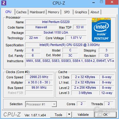 Intel Pentium G3220 für ebenfalls 45 Euro