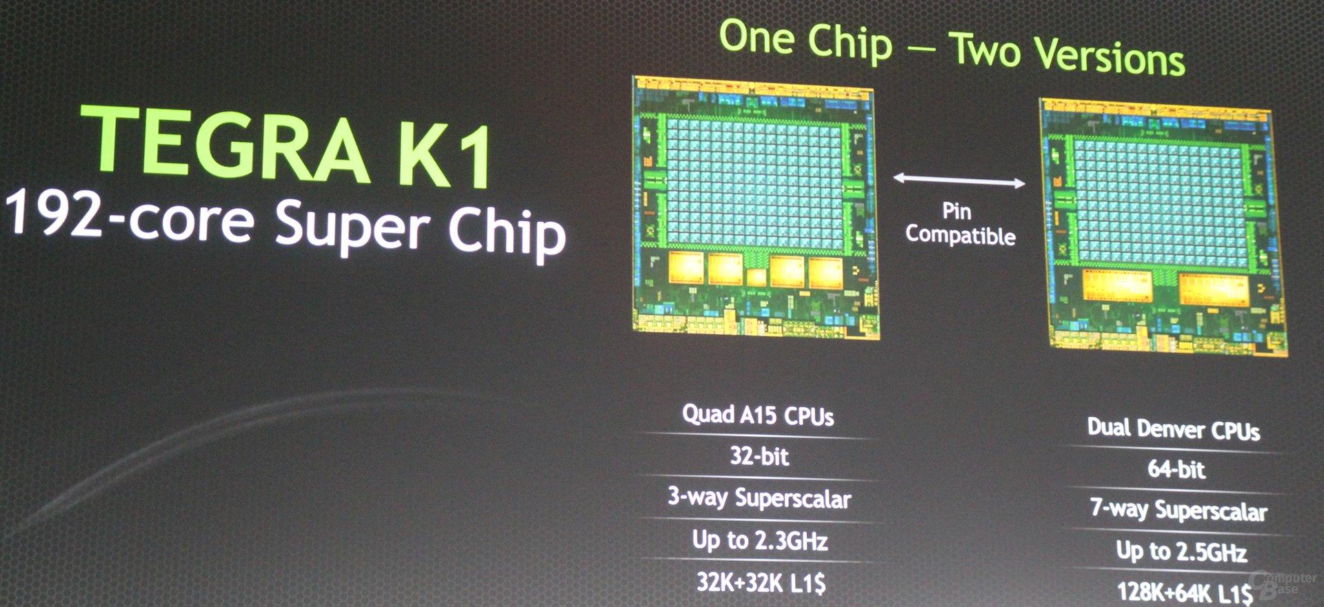 Nvidia Tegra K1 in zwei Varianten