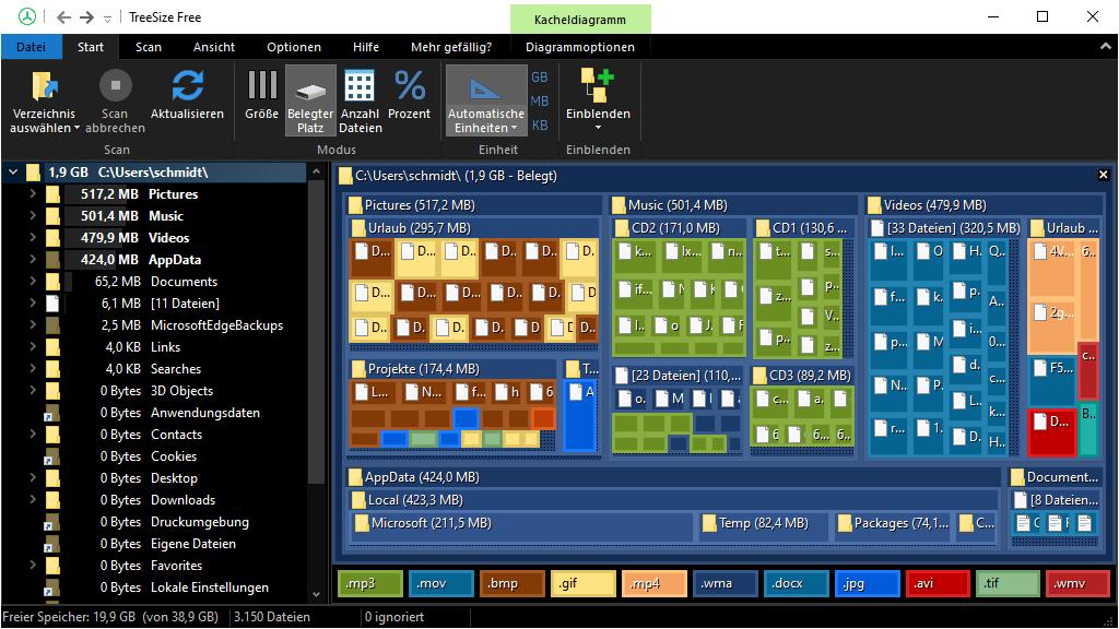 TreeSize Free – Hierarchisches Kacheldiagramm in 2D (Dark Mode)