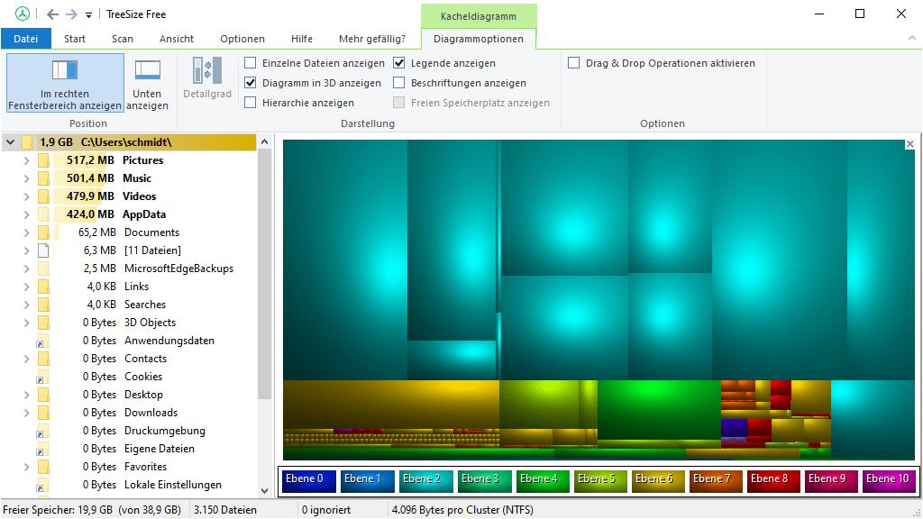 TreeSize Free – Hierarchisches Kacheldiagramm in 3D