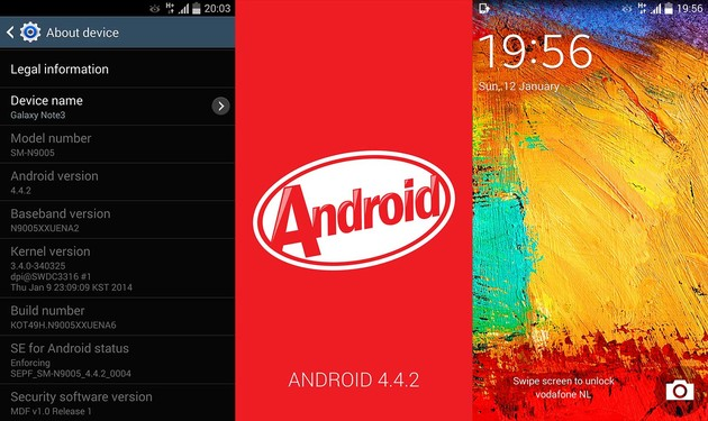 Android 4.4.2 für das Samsung Galaxy Note 3