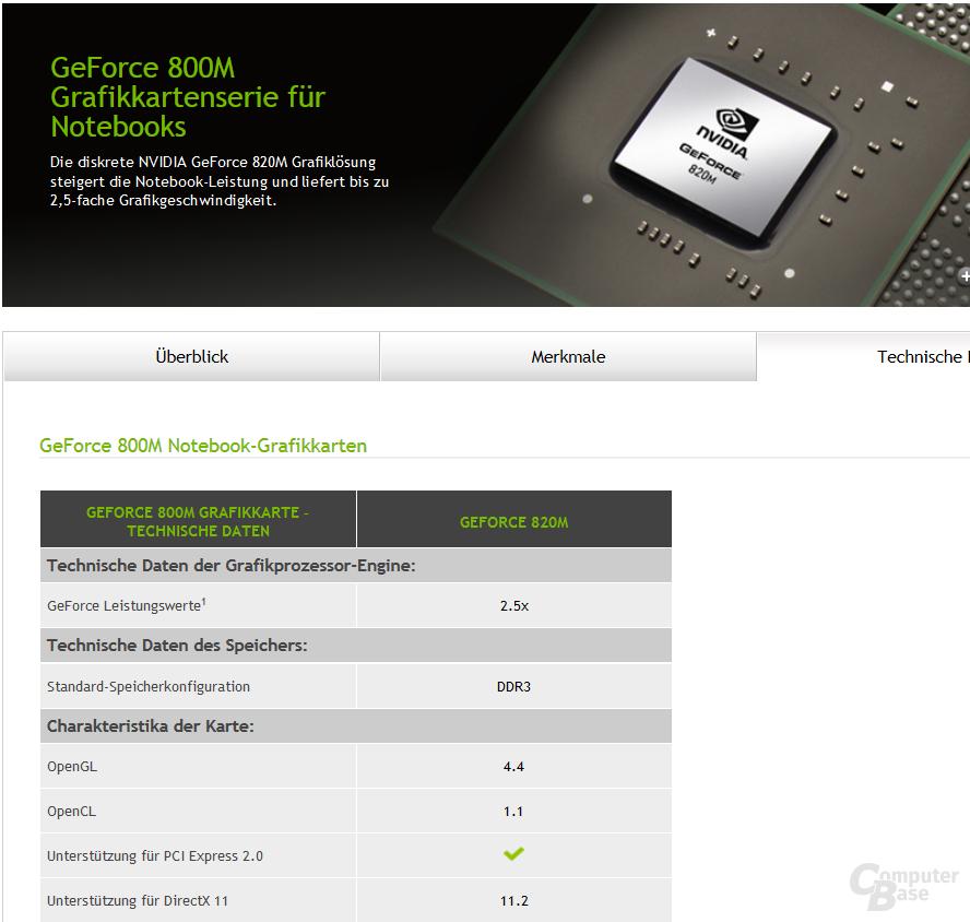 Nvidia listet GeForce 820M mit DirectX 11.2