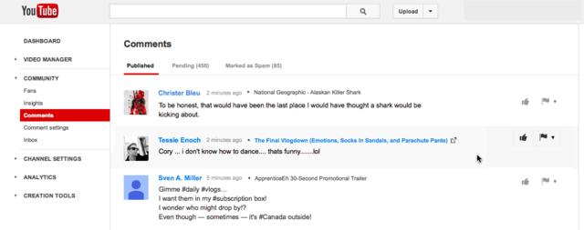 Neue Kommentarverwaltung bei YouTube