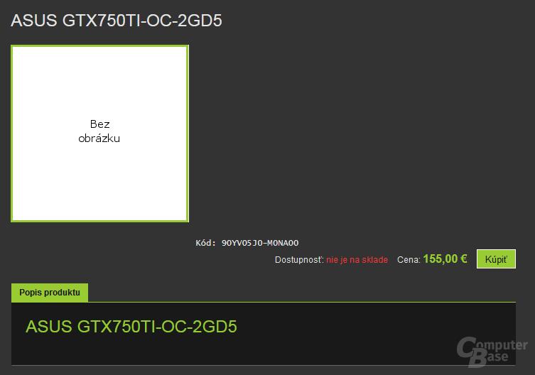Asus GeForce GTX 750 Ti gelistet