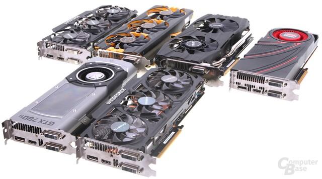 4 x Radeon R9 290X und 2 x GeForce GTX 780 Ti
