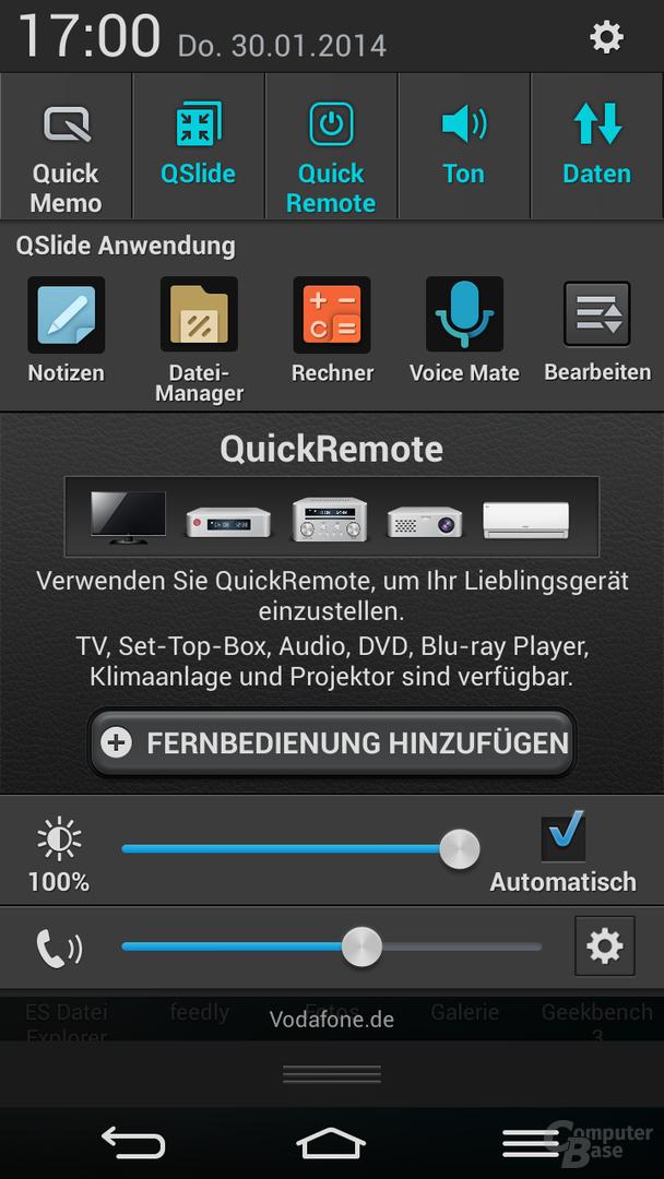 Statusleiste mit QSlide & QuickRemote