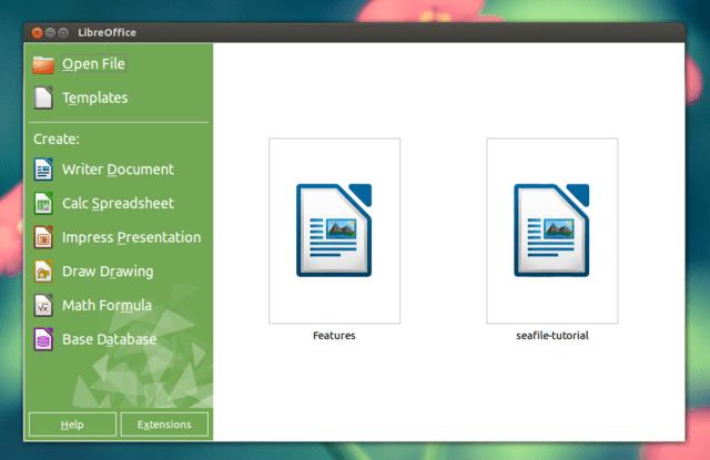 LibreOffice 4.2 Startbildschirm