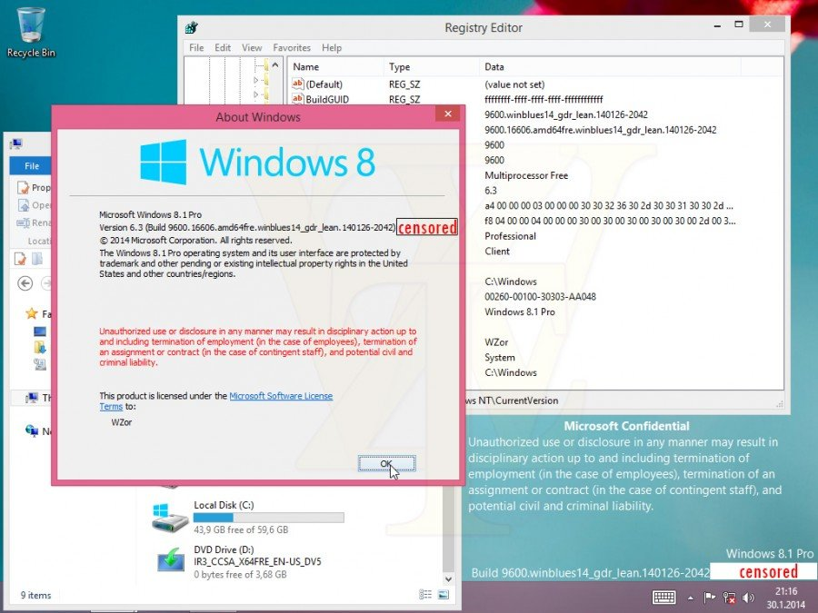 Windows 8.1 GDR1 Build 9600.16606.140126-2042