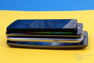 Größenvergleich: Google Nexus 5, LG G Pro Lite Dual, Samsung Galaxy Note II, LG G Flex