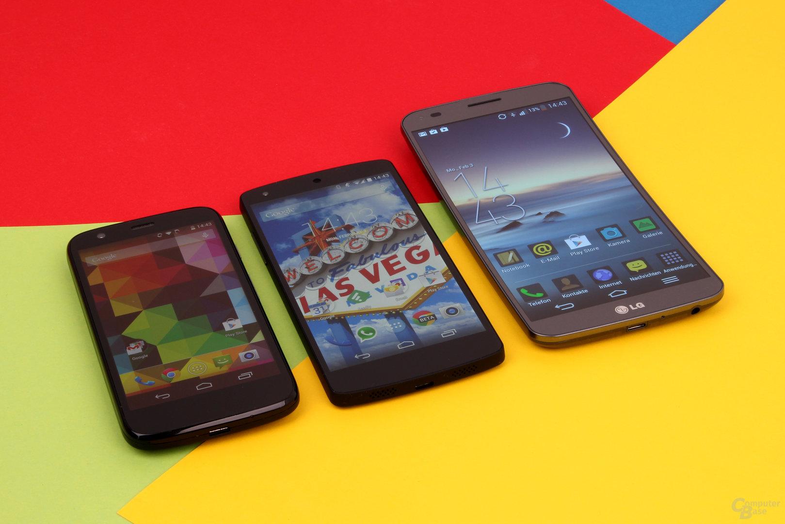 Größenvergleich: Motorola Moto G, Google Nexus 5, LG G Flex