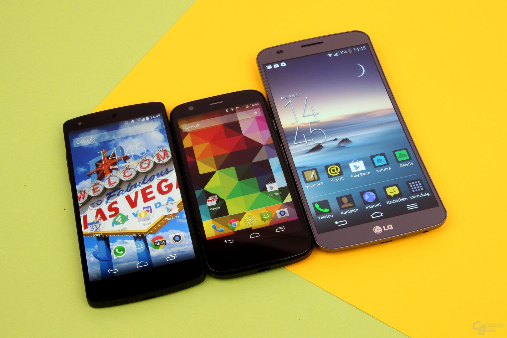 Größenvergleich: Google Nexus 5, Motorola Moto G, LG G Flex