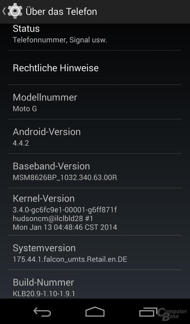 Motorola Moto G Einstellungen