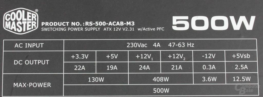 Cooler Master B500 - Datenblatt