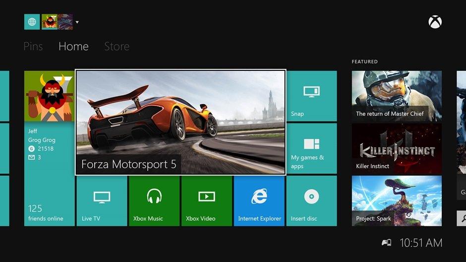 Neues Dashboard der Xbox One mit Batterieanzeige für den Controller