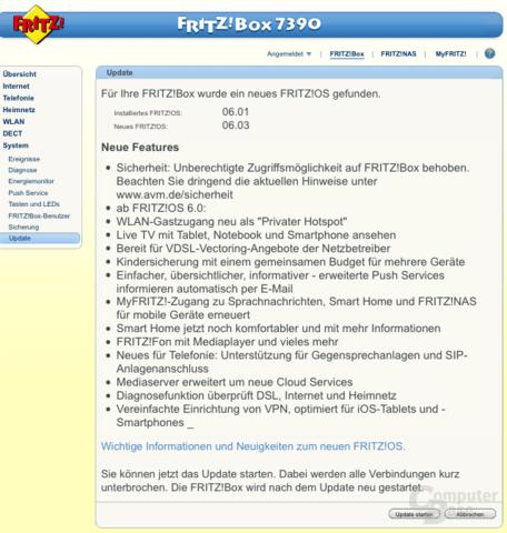 Update für die Fritz!Box 7390